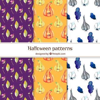 Pack of watercolor halloween patterns