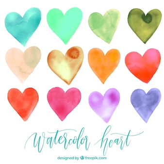 Pack of watercolor hearts