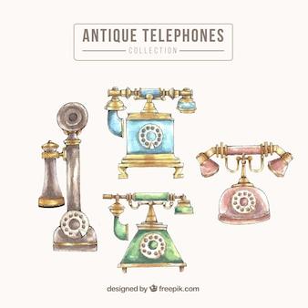 Pack of watercolor old phones