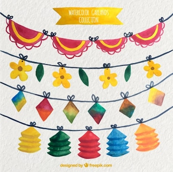 Pack of watercolor party garlands
