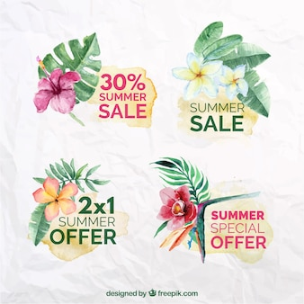 Pack of watercolor sale stickers with flowers