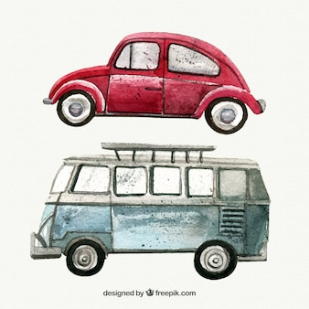 Pack of watercolor vintage cars