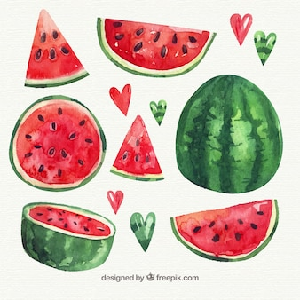 Pack of watercolor watermelon with variety of designs