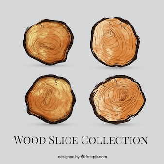 Pack of watercolor wooden logs