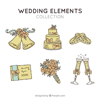 Pack of wedding elements in vintage style