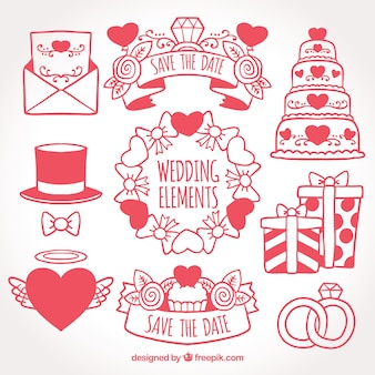 Pack of wedding elements with decorative hearts