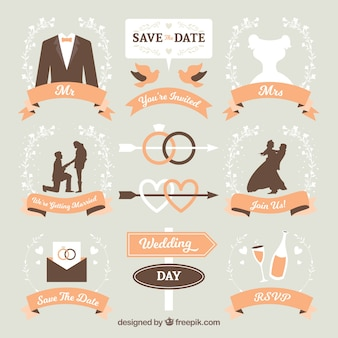 Pack of wedding labels with orange ribbons