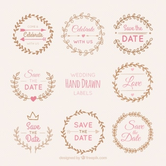 Pack of wedding wreaths stickers