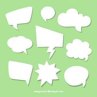 Pack of white speech bubbles