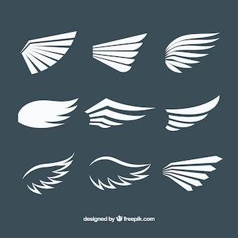 フラットデザインの白い羽のパック