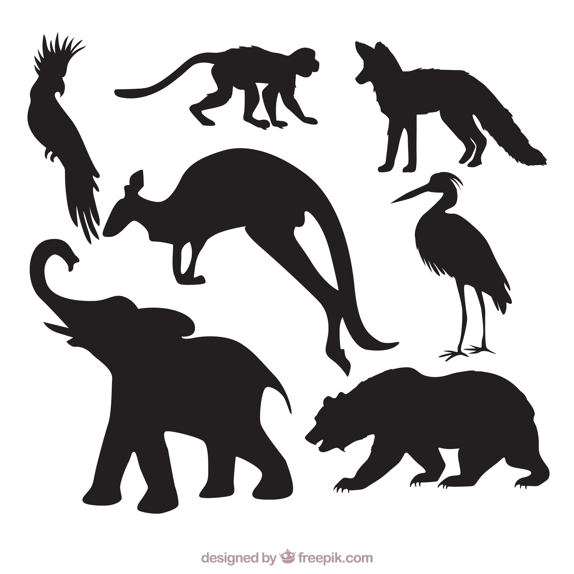 Pack of wild animal silhouettes