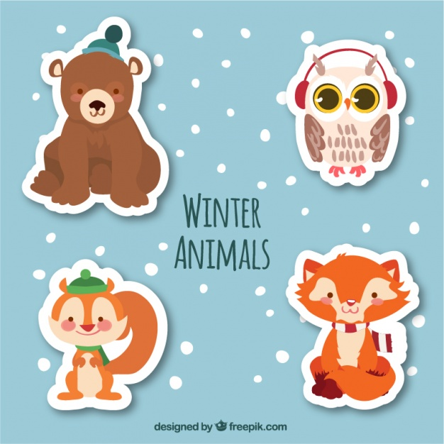 Pack of winter animal stickers