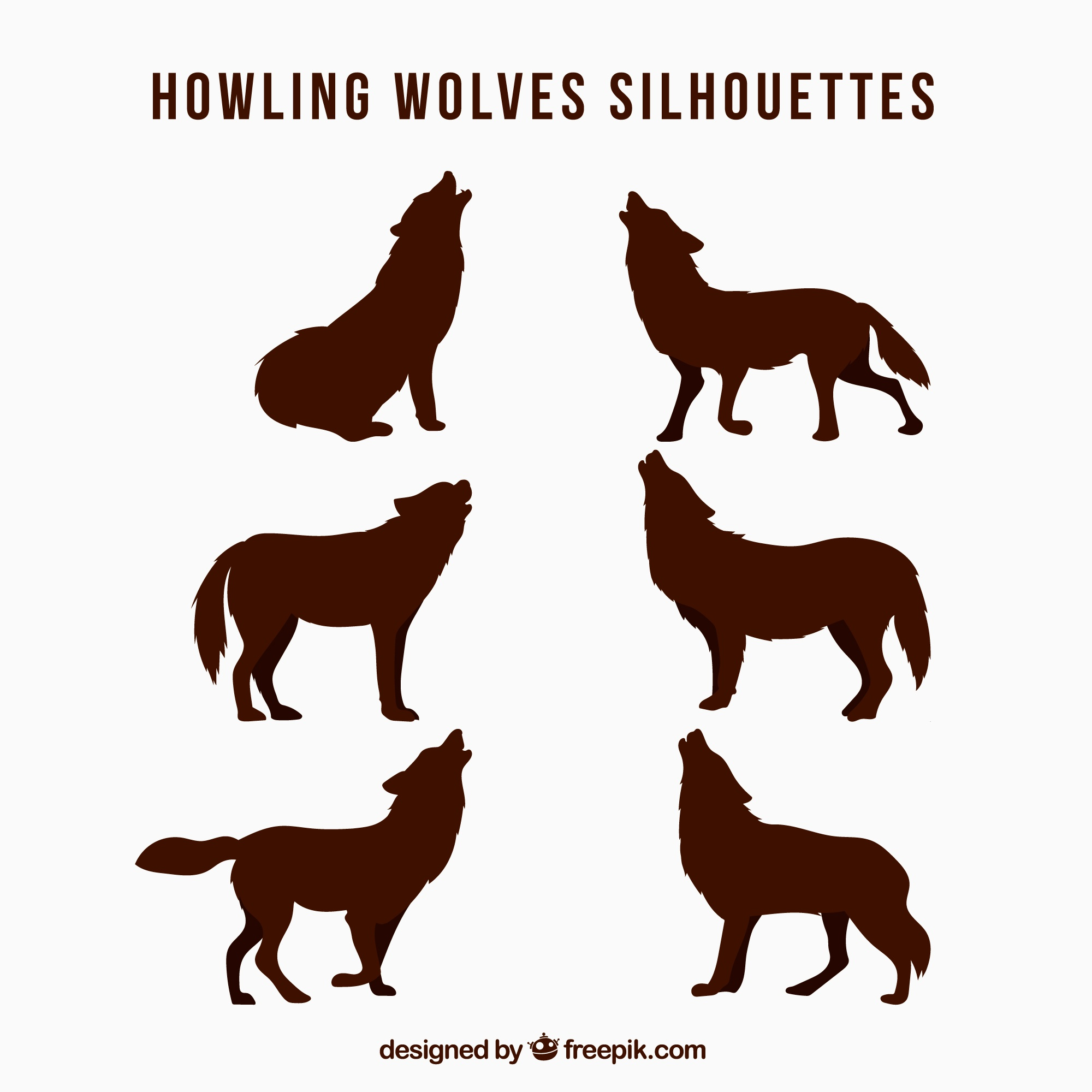Pack of wolf silhouettes howling