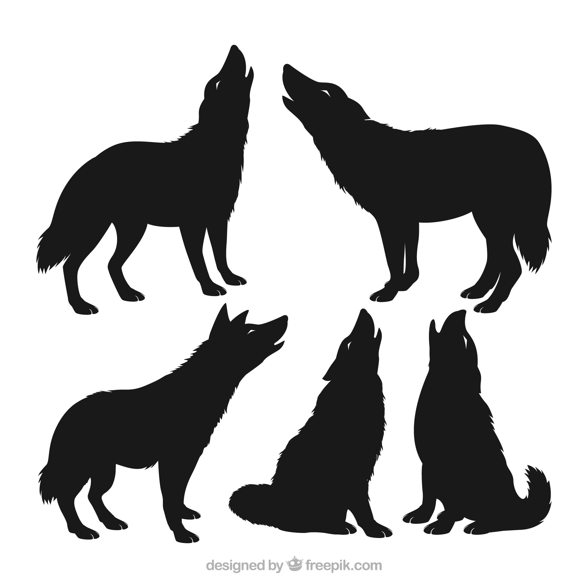 Pack of wolf silhouettes