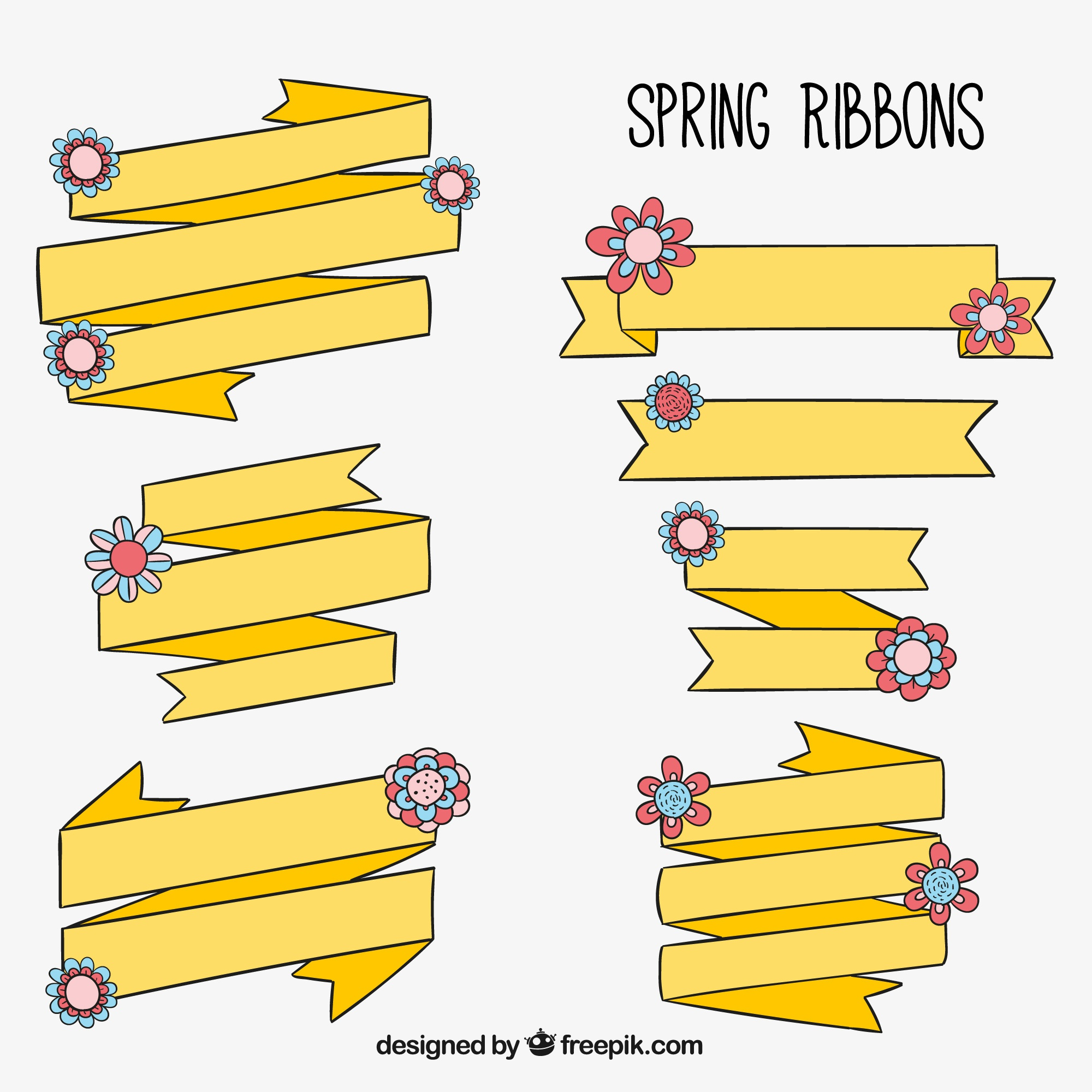 Pack of yellow spring ribbons with floral decoration