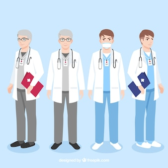 Pack of young and veteran doctors