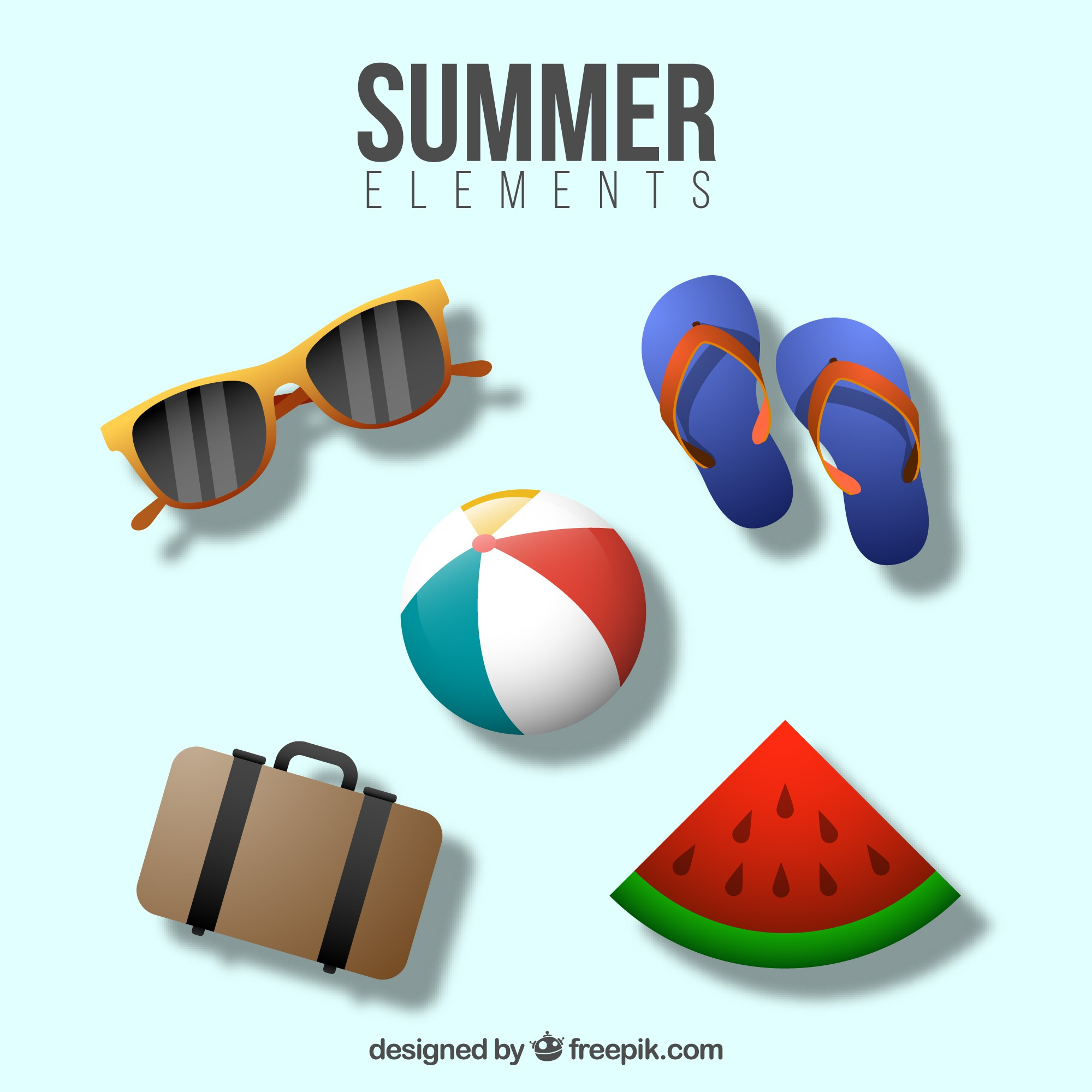 Pack summer and beach elements