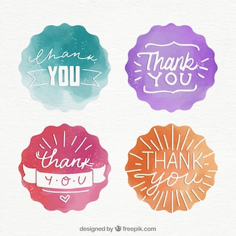 Pack watercolor stickers with the word  thank you