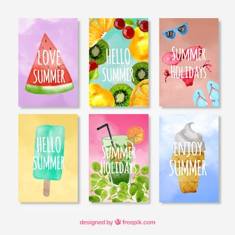 Pack watercolor summer cards
