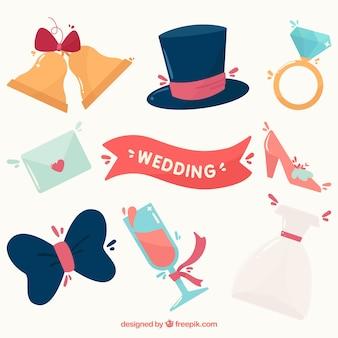 フラットデザインの結婚式の要素をパック