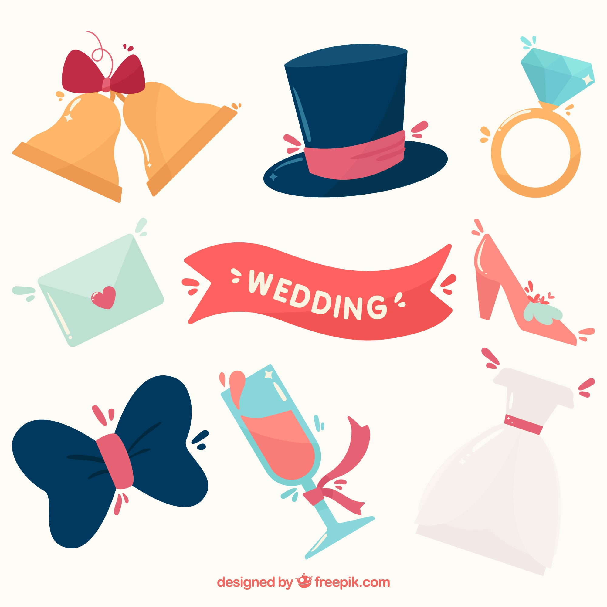 Pack wedding elements in flat design
