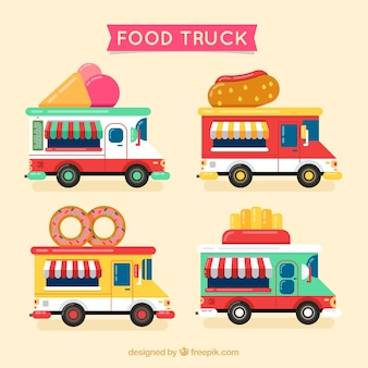 Pack with cartoon food trucks