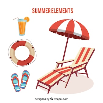 Pack with deck chair and other summer items