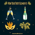 Pack with four items for new year party