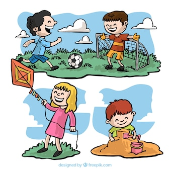 Pack with hand-drawn children having fun