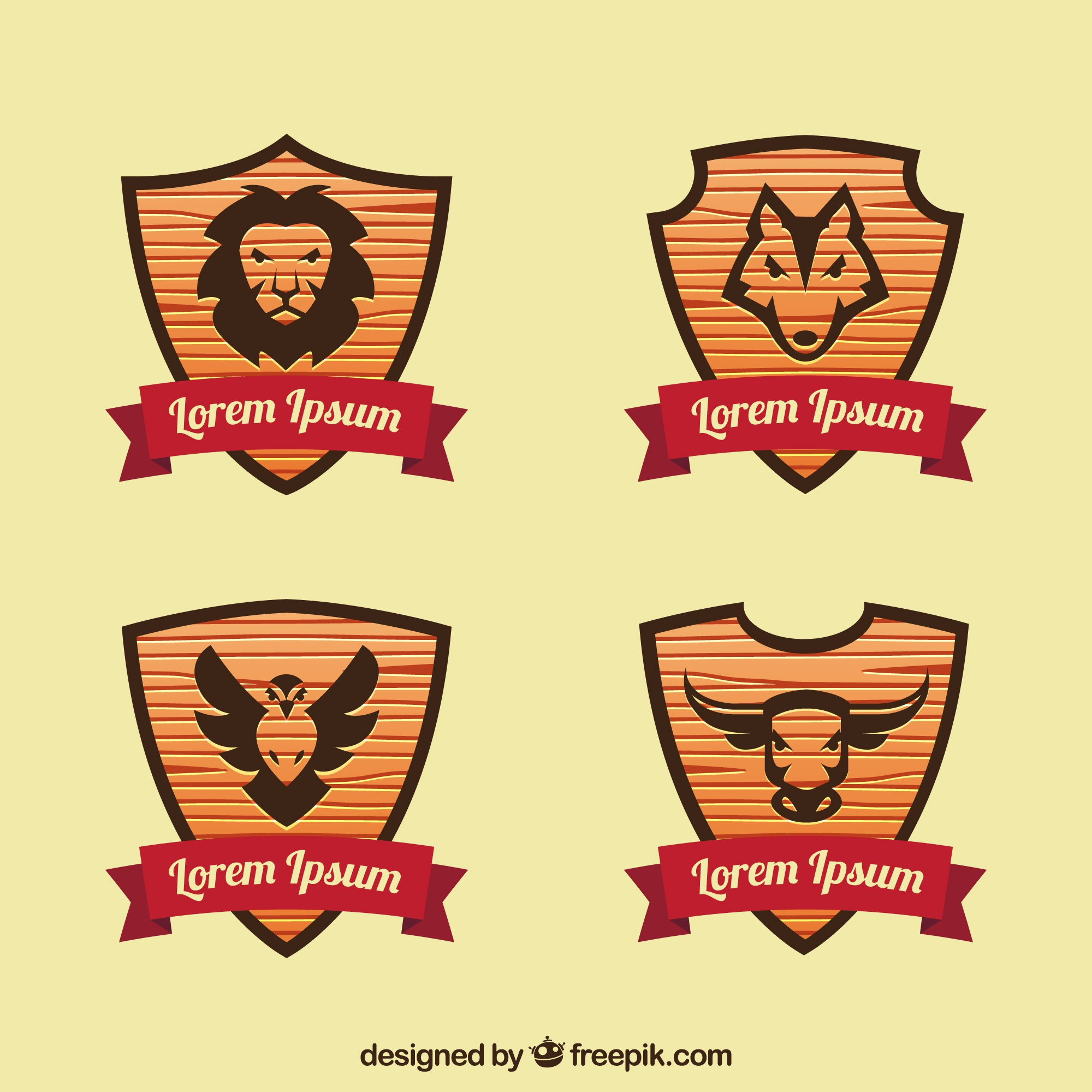 Pack wooden shields with animals