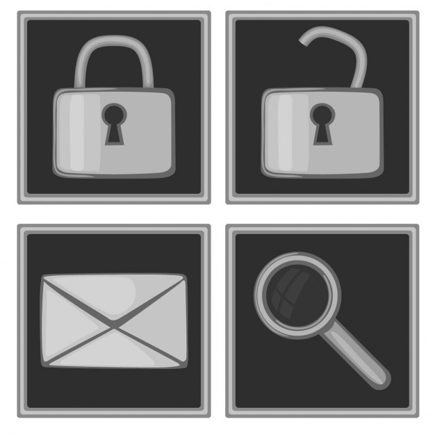 Padlock, envelope and magnifying glass, icons