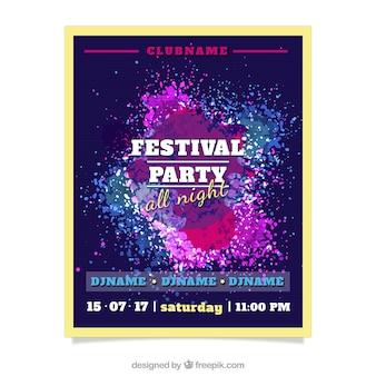 Paint splashes party flyer