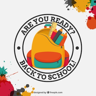 Paint stains background with back to school badge