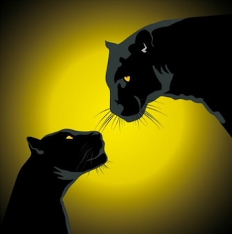 Pair of black panthers with night glow