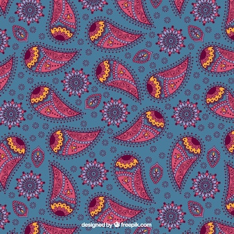 Paisley pattern in blue and pink tones