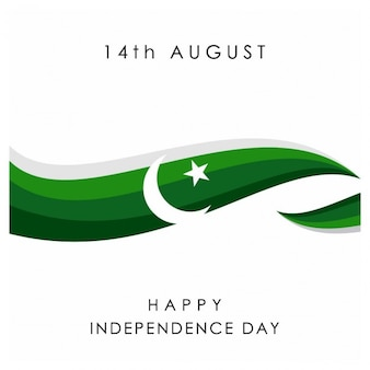 Pakistan independence day background with a green wave