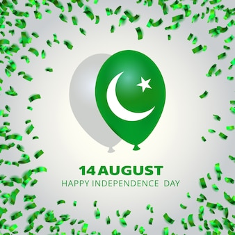 Pakistan independence day design with balloon