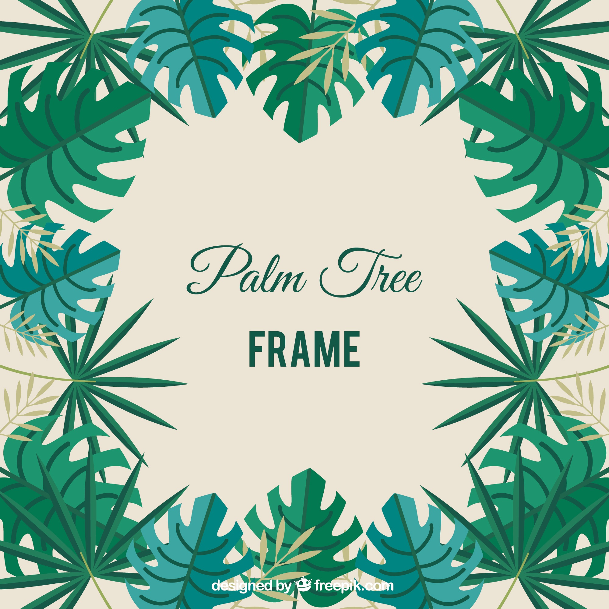 Palm tree frame in green tones