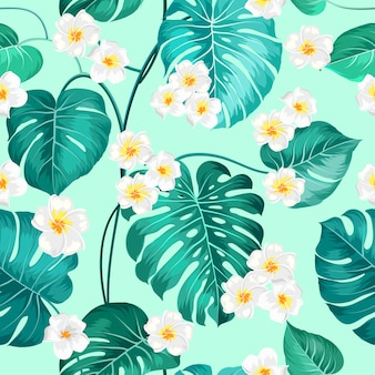 Palm tree leaves with flowers background