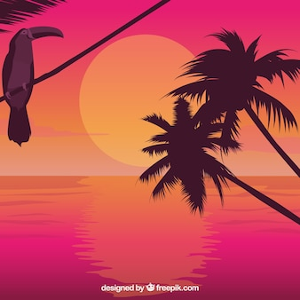 Palm trees and toucan at sunrise