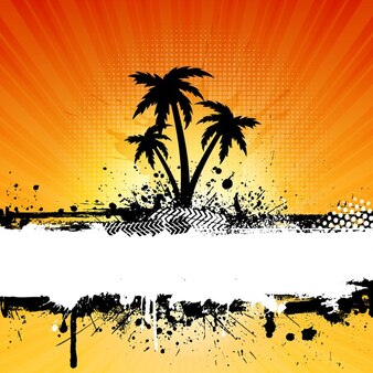 Palm trees grunge background