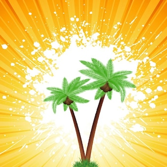 Palm trees on a grunge sunburst background