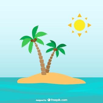 砂漠の島でヤシの木