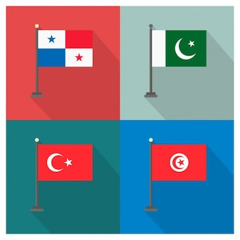 Panama Pakistan Turkey and Tunisia Flags