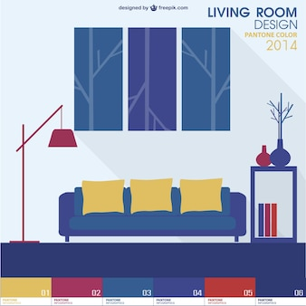 Pantone design living room vector