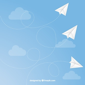 Paper airplanes flying seamless pattern