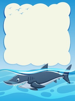 Paper background design with wild shark