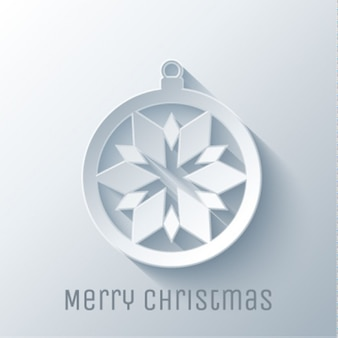Paper ball with snowflake on a white background