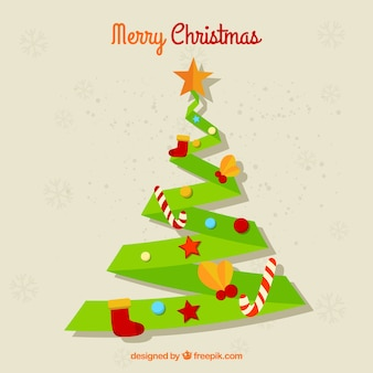 Paper christmas tree background