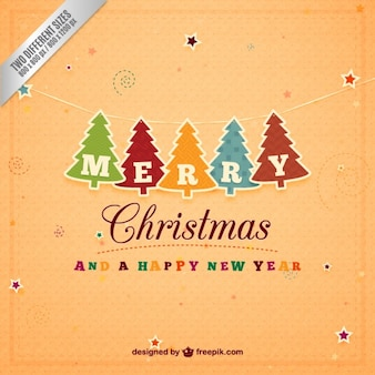 Paper chritmas trees garland background